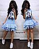 """Сукня """"Лялька"""" декорована нашивками з намистинками, тканина: костюмка люкс. Розмір: 42-44. Різні кольори (6610), фото 5"""