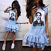 """Сукня """"Лялька"""" декорована нашивками з намистинками, тканина: костюмка люкс. Розмір: 42-44. Різні кольори (6610), фото 6"""