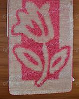 """Набор ковриков для ванной, 60х100 + 60х50см. """"Тюльпан"""", цвет розовый с белым"""