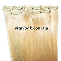 Мини-набор натуральных волос на клипсах 52 см. Оттенок №613. Масса: 45 грамм., фото 1
