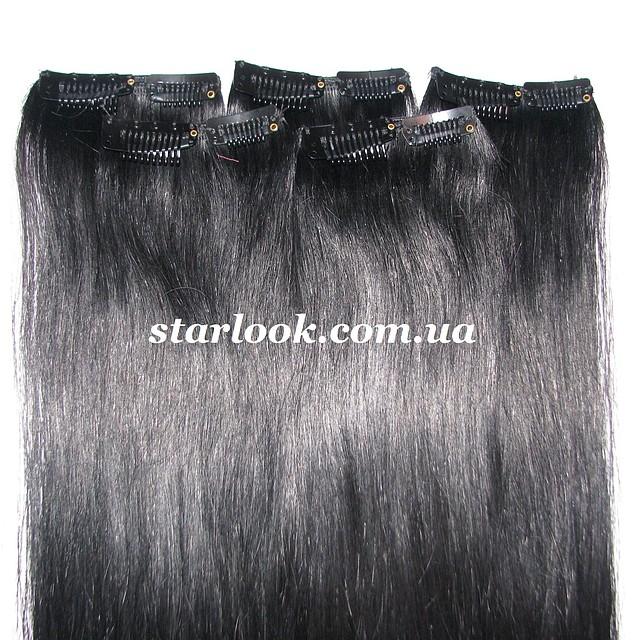 Мини-набор натуральных волос на клипсах 50 см оттенок №1 50 грамм