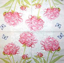 Салфетки декупажные Розовые пионы и бабочки 4678