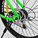 """Детский спортивный велосипед зеленый CORSO Free Ride 24"""" металлическая рама детям от 8 лет, от 135 см, фото 4"""