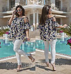 Женский летний брючный костюм больших размеров: блуза и брюки (в расцветках)