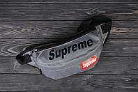 Поясная сумка, бананка, сумка на пояс Supreme, цвет серый, фото 1