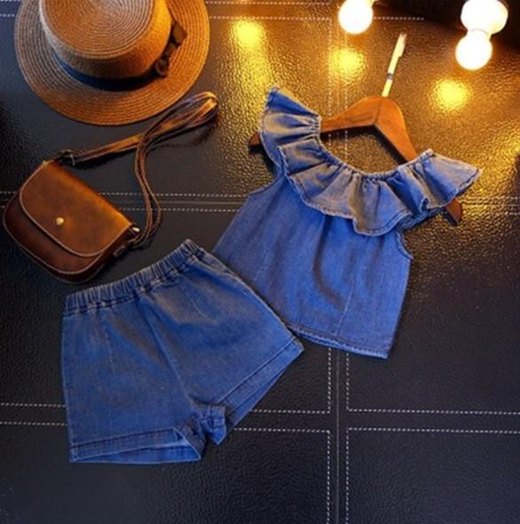 Комплект джинсовый летний Милашка 100,130