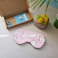 Маска для сна ручной работы коты на розовом