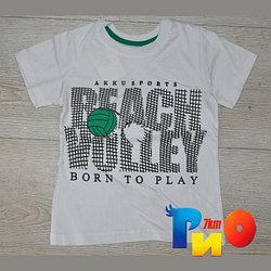 """Летняя трикотажная футболка, """"Beach Wolley"""" принт, для мальчика от 5-10 лет (6 ед. в уп.)"""
