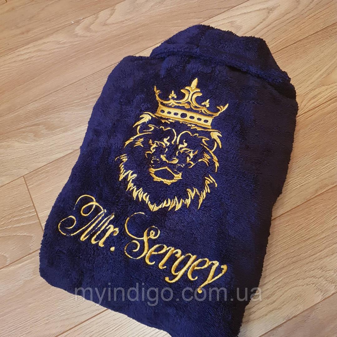 Халат махровий з вишивкою лева