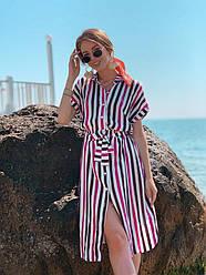 Модное свободное летнее платье рубашка Белый + черный + фиолет