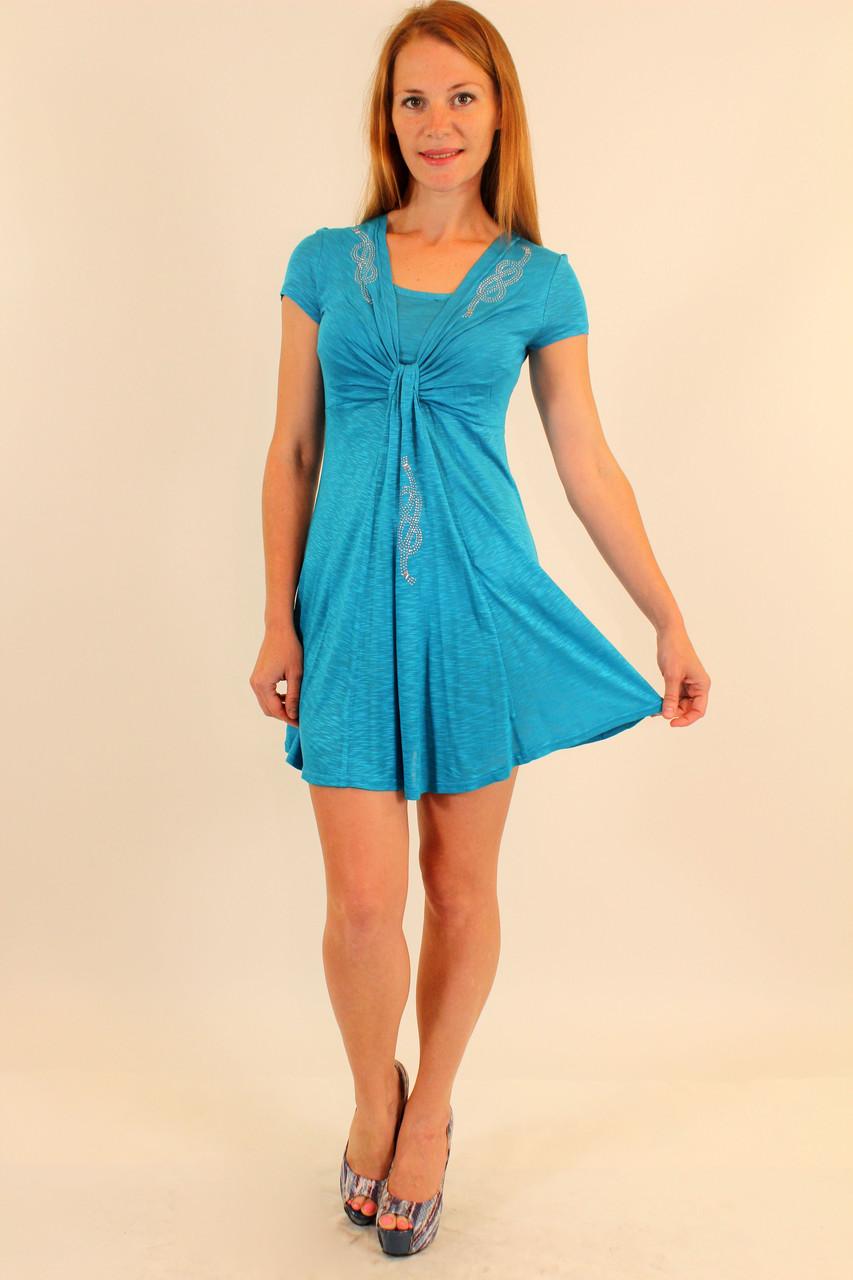 Летние платье расклешенное 42-48 р ( розовый, голубой )