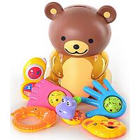 Набор Погремушек 8 шт в колбе медведь-копилка,  подарочный набор погремушек для малышей