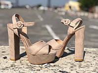 Босоножки на каблуке женские экозамша беж пудра KF0553