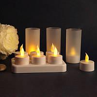 Свечи чайные аккумуляторные светодиодные, набор 6 единиц