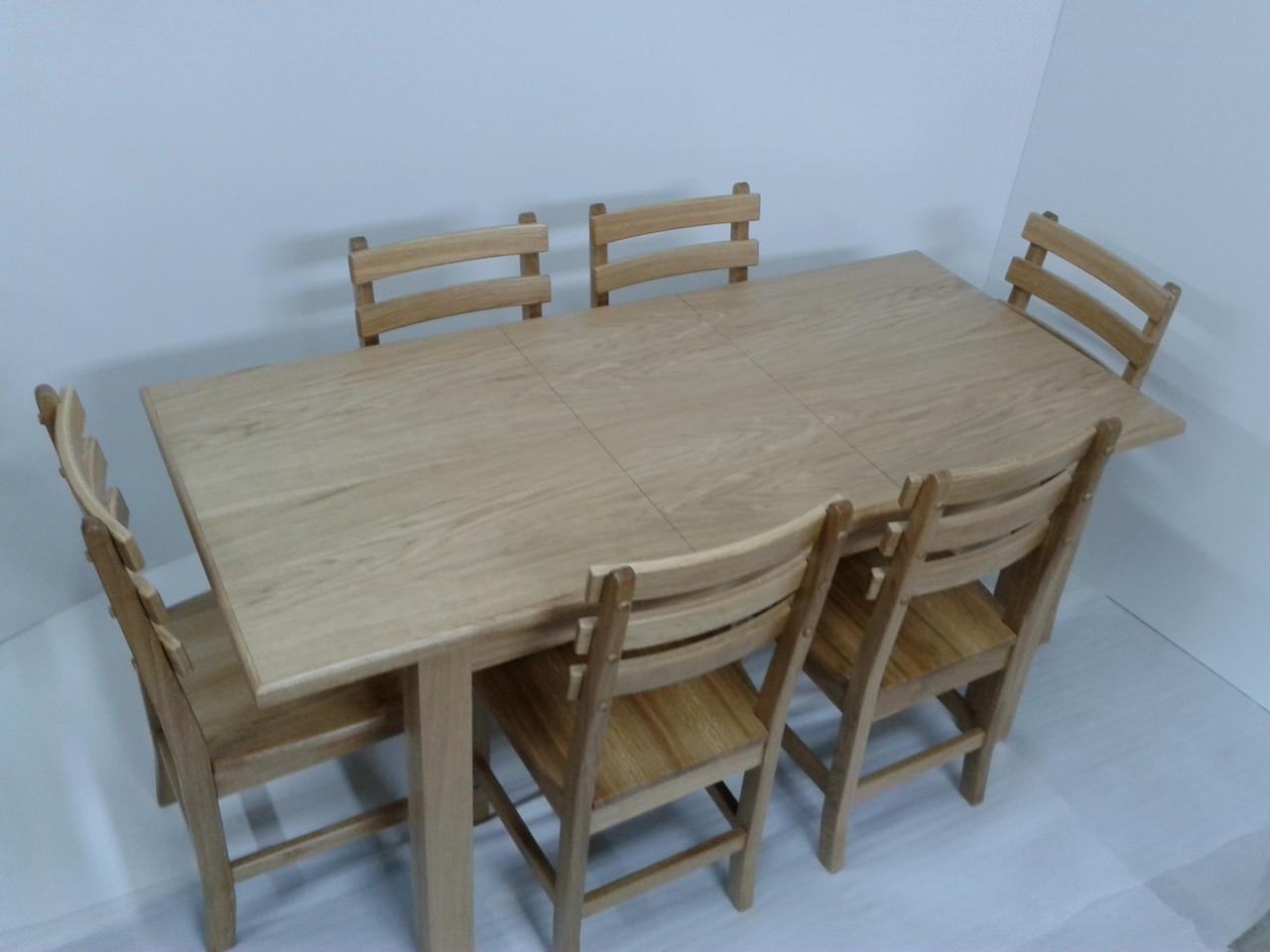 Обеденный комплект стол кухонный обеденный и 6 стульев дубовых 006