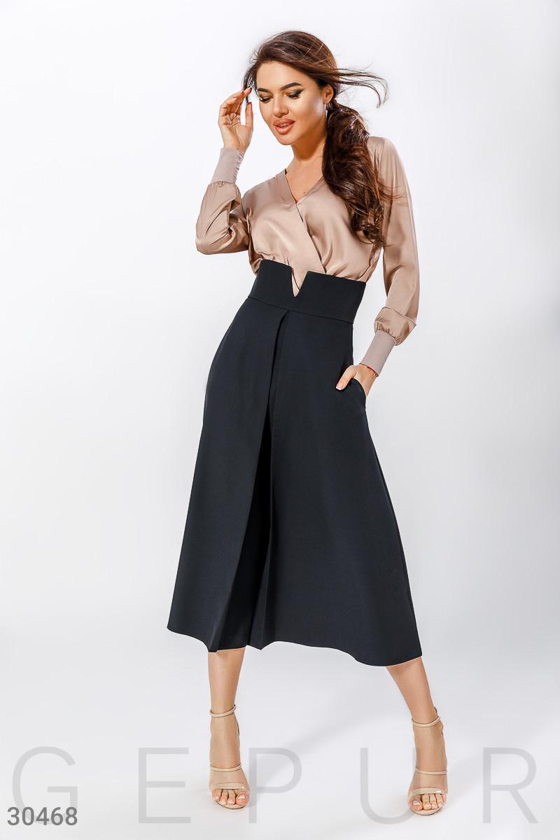 Длинная нарядная юбку с завышенной талией черная