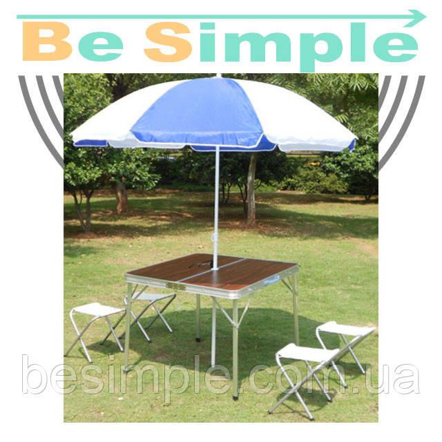 Раскладной столик со стульями для пикника Folding Table + Umbrella (4 стула + зонт)