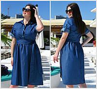 Летнее джинсовое платье Батал до 58 р 19314, фото 1