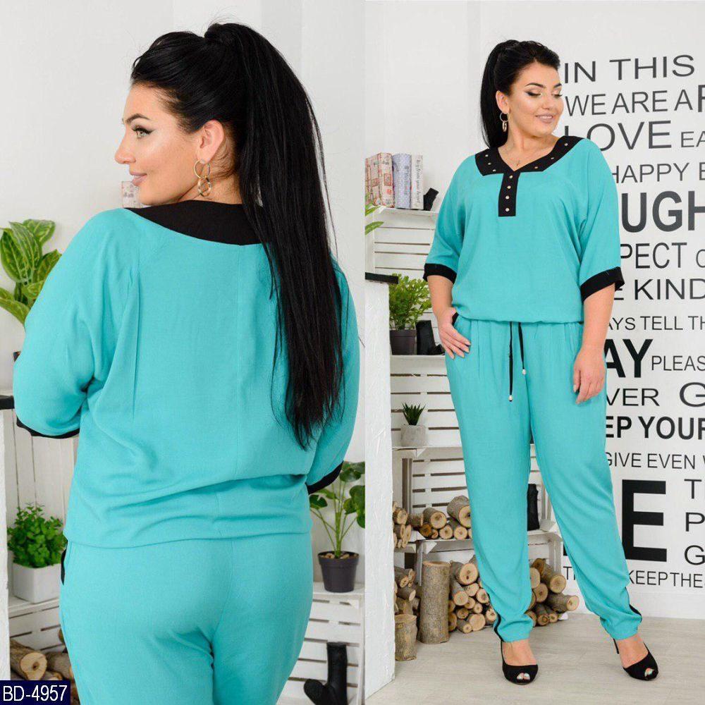Женский прогулочный легкий летний брючный костюм,блузка+брюки с карманами (штапель) 3 цвета (батал)
