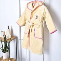 Детский махровый халат Мишка розовый