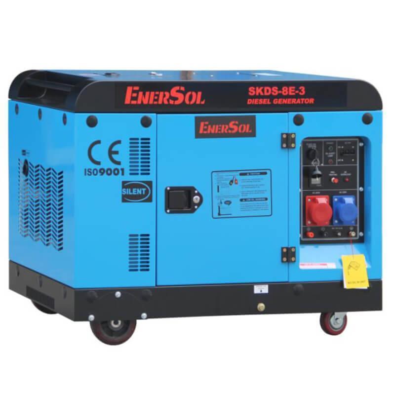 Дизельный трехфазный генератор мощностью 8 кВА EnerSol SKDS-8E-3B