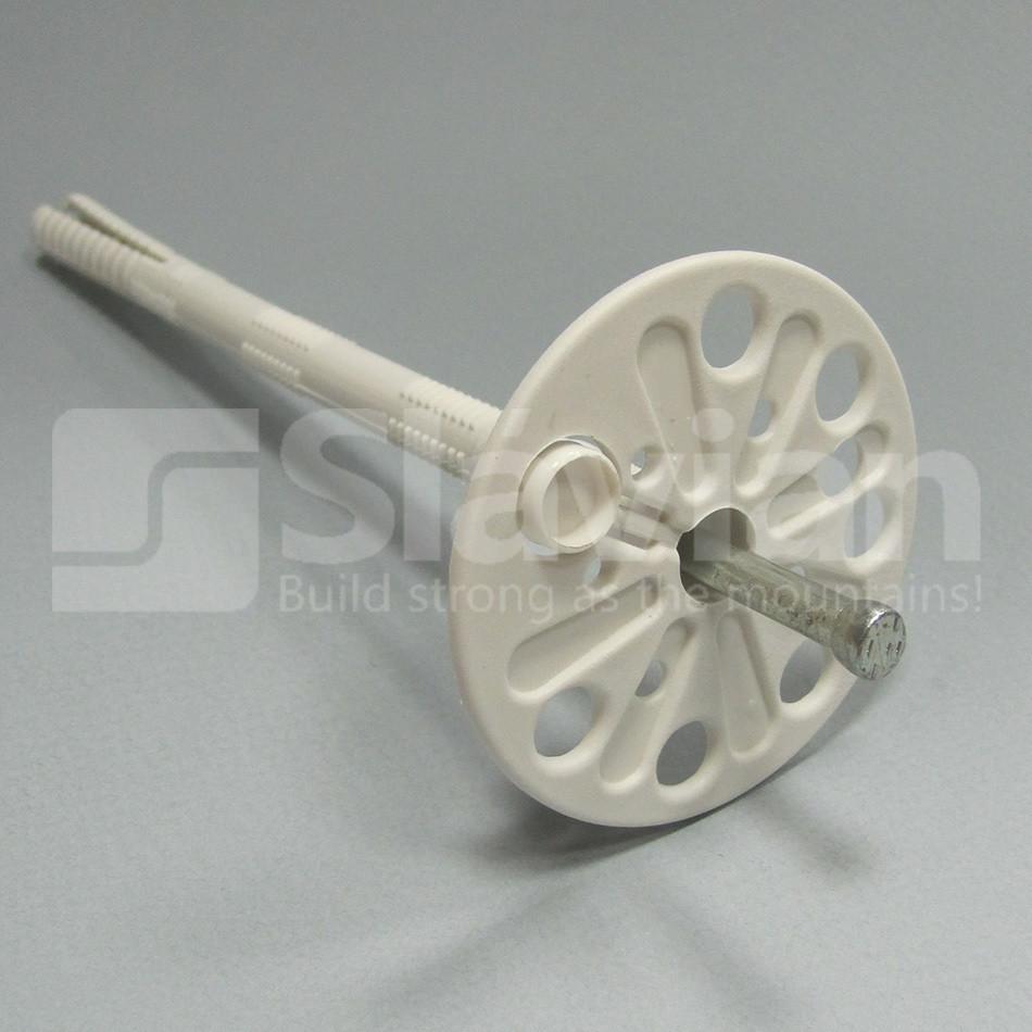 Дюбель крепления теплоизоляции 10х140мм,  металлический гвоздь и термозаглушка (Премиум)