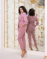 Удобные женские брюки льняные в полоску на резинке с карманами