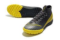 Футбольные сороконожки Nike Superfly VI Elite TF Dark Grey/Black/Yellow, фото 1