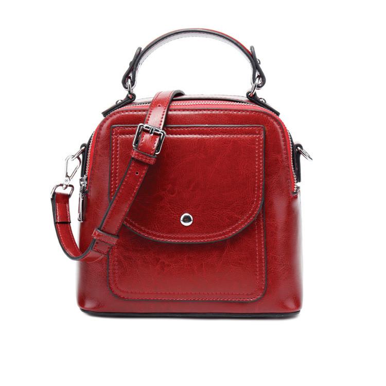Женская кожаная сумка через плечо красная, фото 1