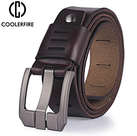 Кожаный мужской ремень Coolerfire HQ038 - Coffee