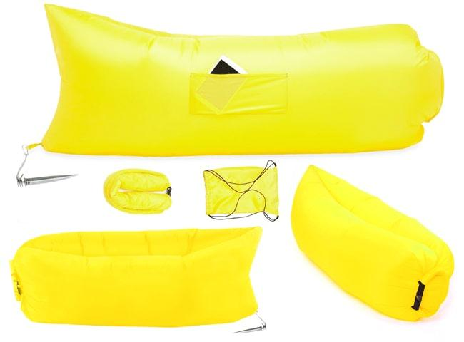 Ламзак диван-шезлонг для отдыха, надувной, желтый Oxford PU 240d