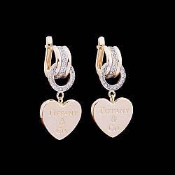 """Золотые серьги """"Tiffany&Co"""" с фианитами с04250"""
