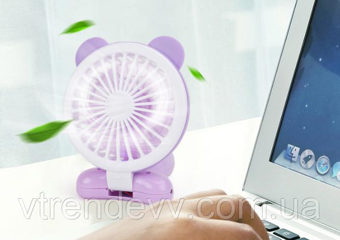 Вентилятор Mini fan на аккумуляторе с ушками и подсветкой