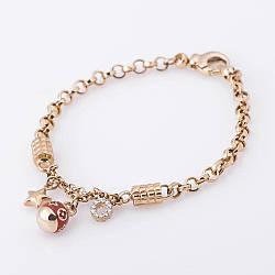 Золотой цепной браслет с шармами б02228