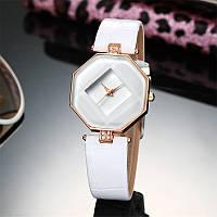Женские часы Геометрия кожаный ремешок (Белые)