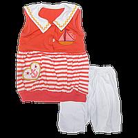 Летний костюмчик комплект р 110 для девочки: туника без рукавов, шортики и косынка; тонкий хлопок лето