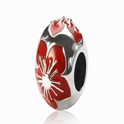 Серебряный шарм для браслета красный цветок Барбарис