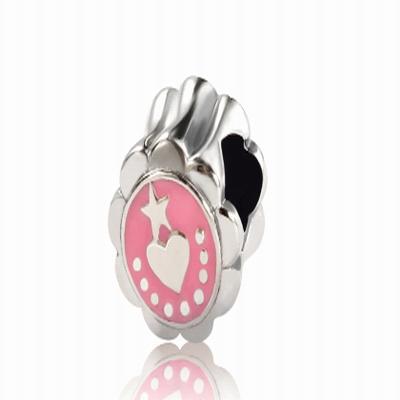 Серебряный шарм для браслета с розовой эмалью Барбарис