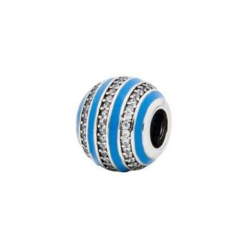 Серебряный шарм для браслета c голубой эмалью и цирконием Барбарис