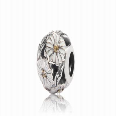 Серебряный шарм для браслета белая хризантема Барбарис