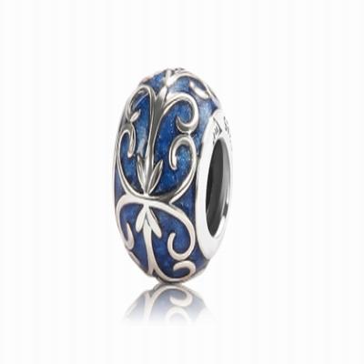 Серебряный шарм для браслета с синей эмалью Барбарис
