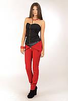 Стильные женские брюки с кожаной вставкой, фото 1