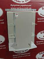 Зеркальный навесной шкаф в ванную с открытыми боковыми полками А09-55