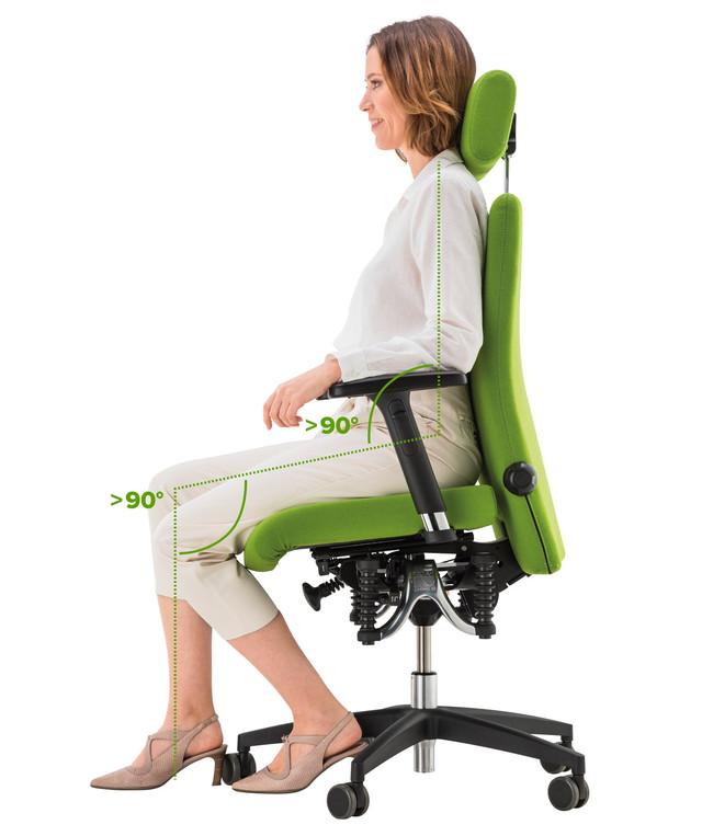 правильное положение при сидении на кресле