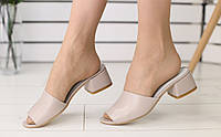 Босоножки шлепанцы (сабо) на каблуке, материал - натуральная кожа, FS-6203-1. Бежевый