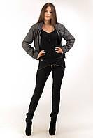 Стильные женские брюки с кожаной вставкой Черные, фото 1