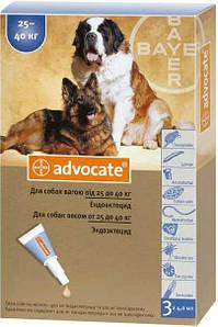 Капли Адвокат для собак | Средство от блох и клещей Advocate (вес 25-40 кг)
