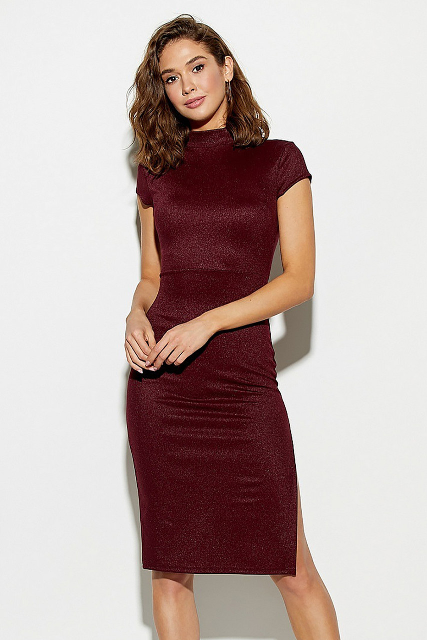 (S, M, L) Шикарне коктейльне марсалове плаття Amona