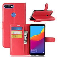 Чехол-книжка Litchie Wallet для Huawei Y7 Prime 2018 Красный