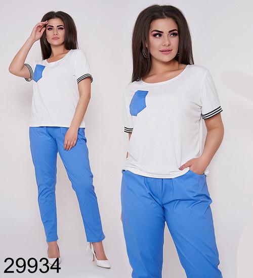Модный костюм брюки на резинке + блузка с коротким рукавом (голубой) 829934